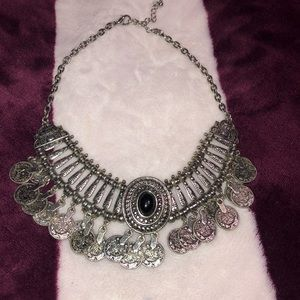 """Edgy silver choker w/ black gem and silver""""coins"""""""